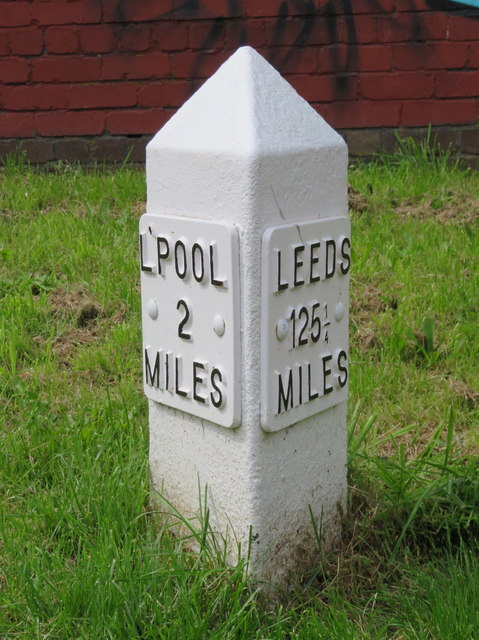 2 Mile milepost alongside the Leeds-Liverpool Canal