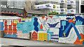J3474 : Decorated building site hoarding, Belfast (August 2017) by Albert Bridge