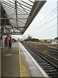 NT9953 : Train approaching Berwick Station by John Myers
