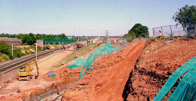 West Coast Main Line widening works, north of Lichfield, 2006