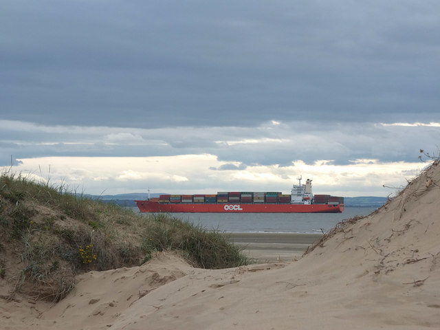 Container ship in Crosby Channel