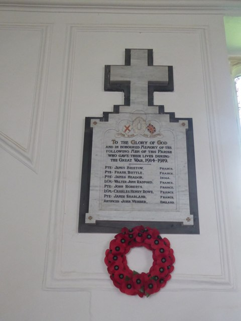 WW1 war memorial, Cruwys Morchard church