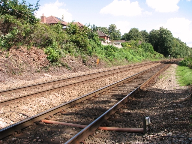 View east along the railway line at Brundall
