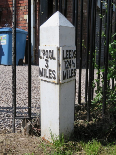 3 Miles from Liverpool milepost on the Leeds-Liverpool Canal