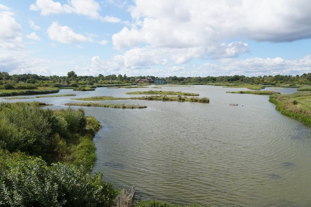 View over the main lagoon at the London Wetland Centre, Barnes