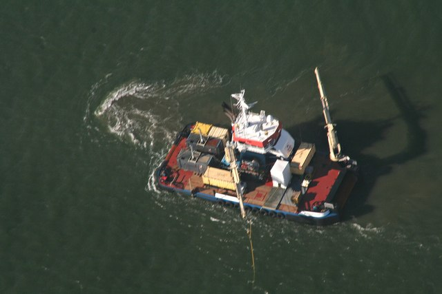 Dredging support vessel off Horseshoe Point: aerial 2017