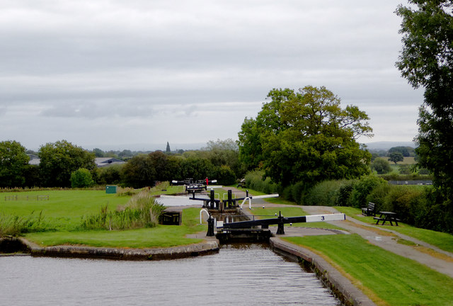 Hurleston Locks south-east of Barbridge in Cheshire