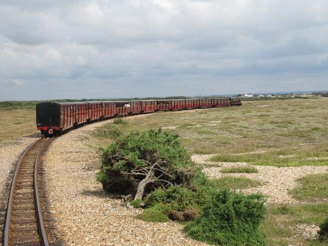 Train on the Romney, Hythe and Dymchurch Railway