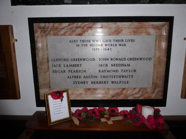 Holy Trinity, Bolton-le-Sands: war memorial (1939-1945)