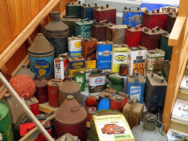 Old oil cans in museum, Chain Bridge Honey Farm
