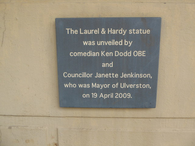 Plaque near the Laurel and Hardy statue, Ulverston