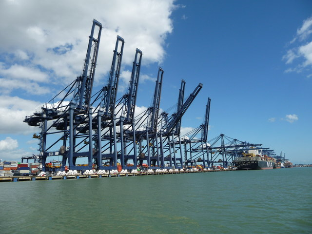 Cranes at Trinity container terminal, from the west