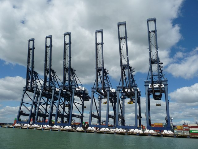 Cranes, Port of Felixstowe, from the south