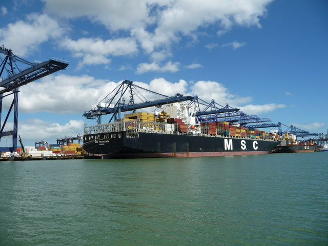 Container ships at the port of Felixstowe