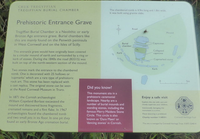 Information panel at Tregiffian Burial Chamber