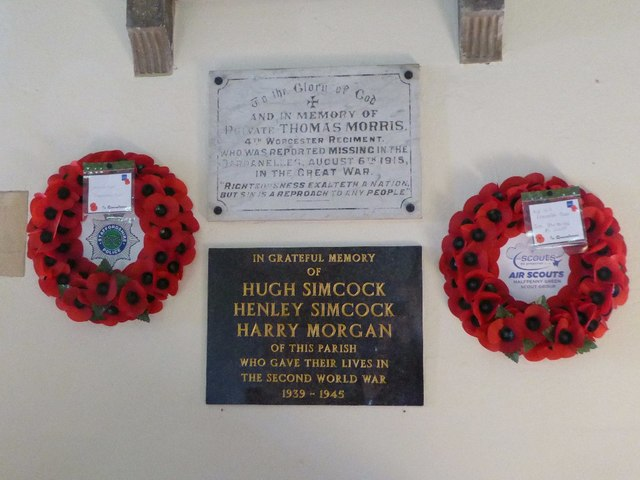 War memorial in Bobbington church