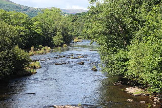 River Usk upstream (2) from Llangynidr Bridge
