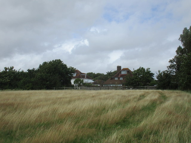Grass field and villas, West Wittering