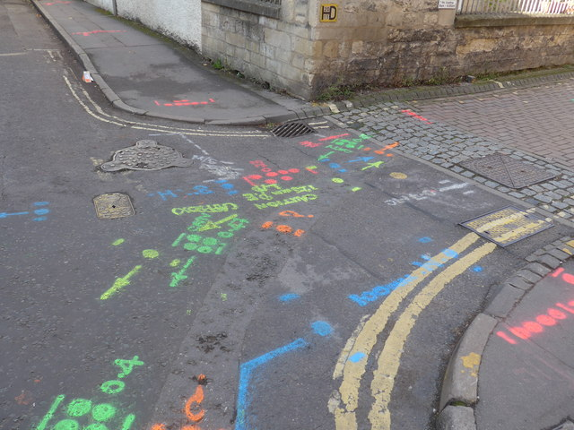 Utilities locations painted on road