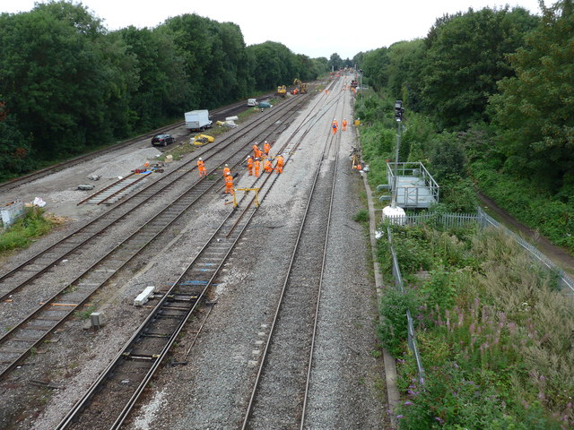 Railway engineering works, south of Oxford Station