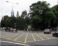 ST1876 : Yellow-marked crossroads in Cardiff city centre by Jaggery