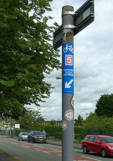 Signpost with waymarkers, Fairway, Stafford