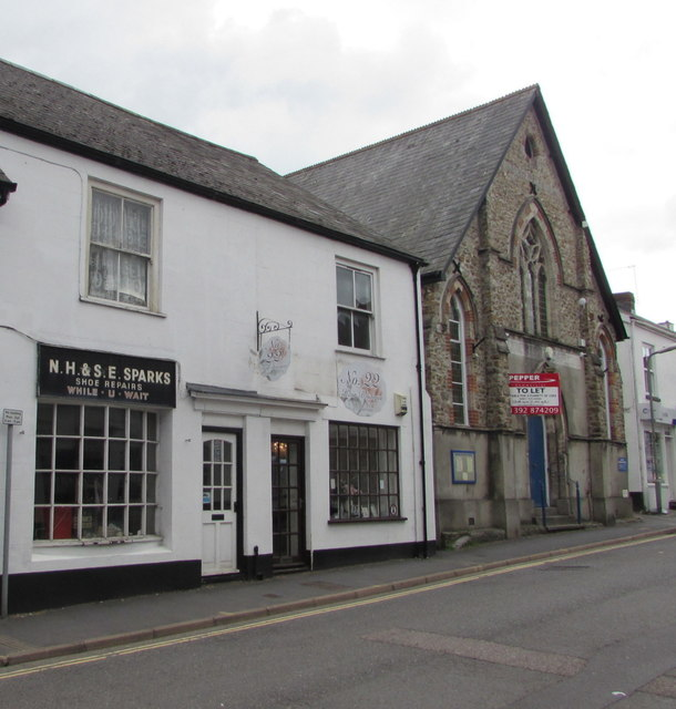 Shoe repairs shop and a hair boutique, New Street, Honiton