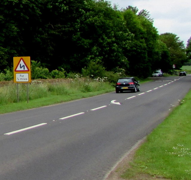 Warning sign - bends for three-quarters of a mile, Kemble