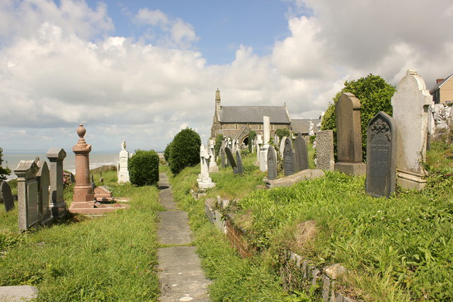 The cemetery of St Mary and St Bodfan Church, Llanaber