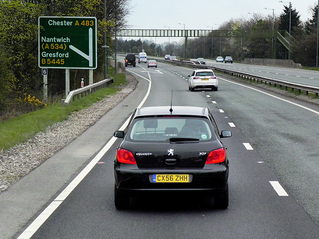 A483 at Junction 6 (for Gresford)
