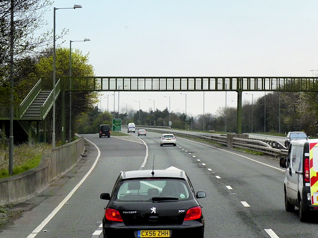 Footbridge over the A483 at Junction 6