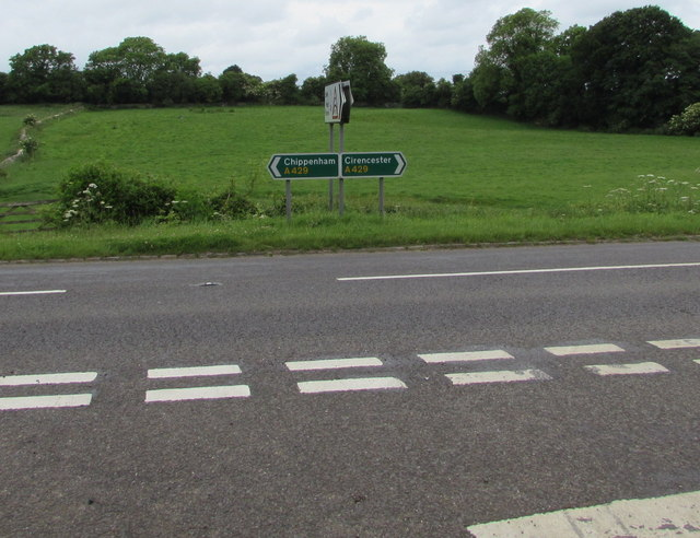 A429 directions facing the road from Ewen, Gloucestershire