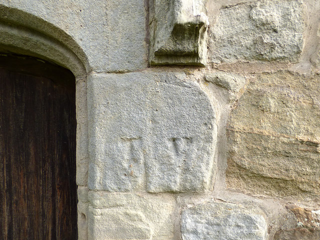 St Maurice, Eglingham - carved initials