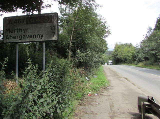 Grimy sign alongside the A467, Brynmawr