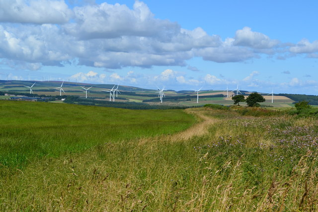 Landscape with wind turbines, near Broomhill Plantation