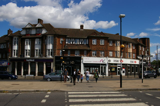 Parade of shops opposite Southgate underground station