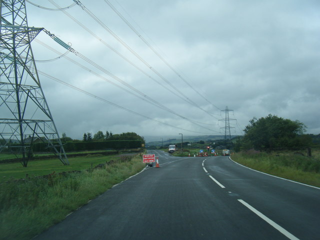 B6114 junction with Rishworth Road, and pylons