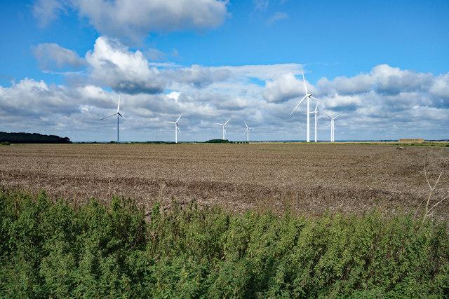 Wind turbines, near Graveley