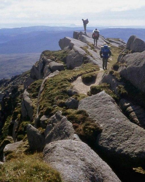 Walkers on the summit ridge of Beinn a' Chliabhain