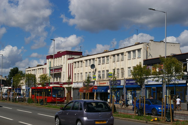 Parade of shops and former cinema, Bowes Road
