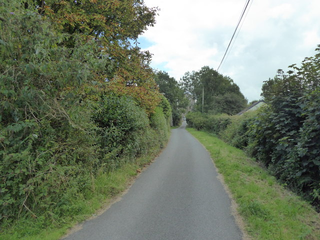 Lane from Castle to Car Park in Llawhaden