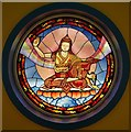 NT2400 : Stained Glass Window, Temple Courtyard by James T M Towill