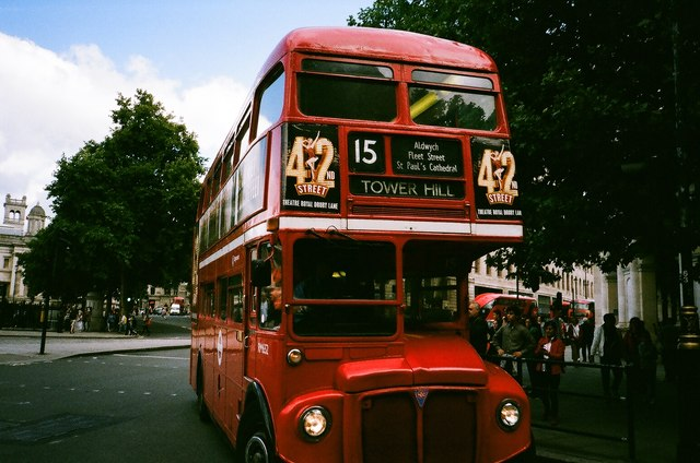 View of a Routemaster turning into its Northumberland Avenue terminus