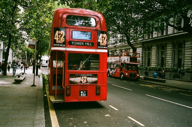 View of a pair of Routemasters on Northumberland Avenue