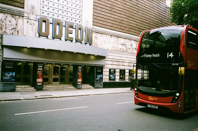View of the Odeon Leicester Square from Charing Cross Road