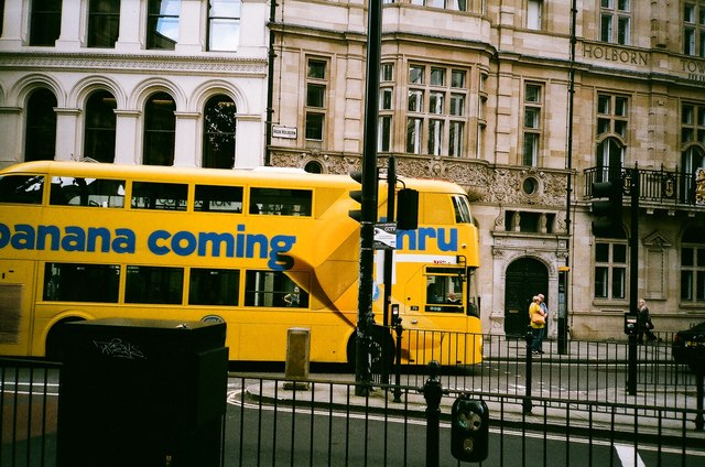 "View of the Fyffes ""New Bus for London"" passing along High Holborn"