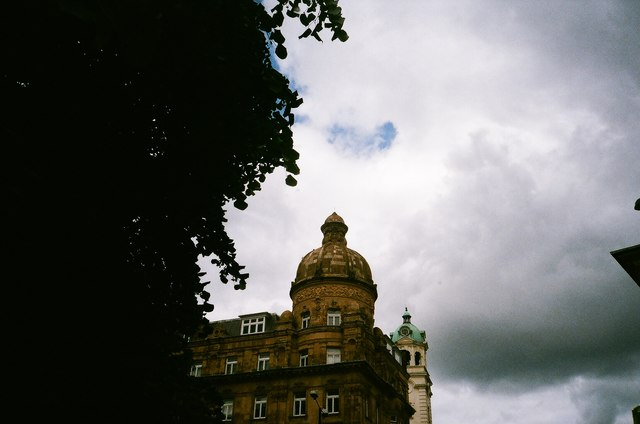 View of a dome above the Co-Operative Bank on the corner of Islington High Street and Pentonville Road