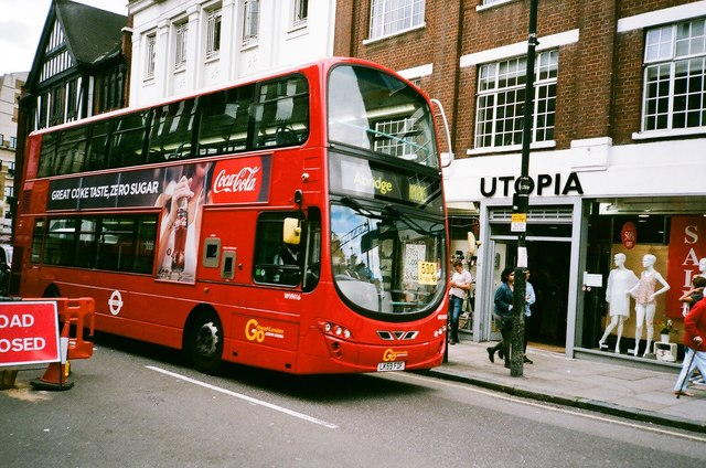 View of a bus with unusual destination and number on Liverpool Road