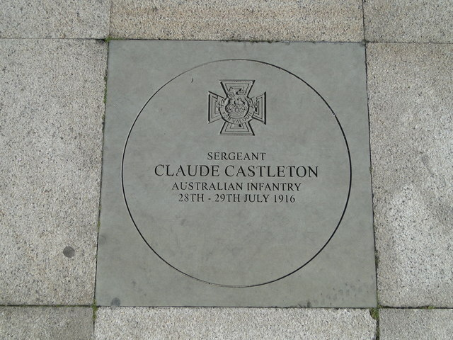 Memorial plaque to  honour Sergeant Claud (no E) Castleton