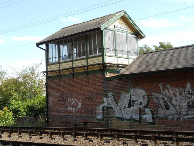 Woodstone Wharf signal box on the Nene Valley Railway